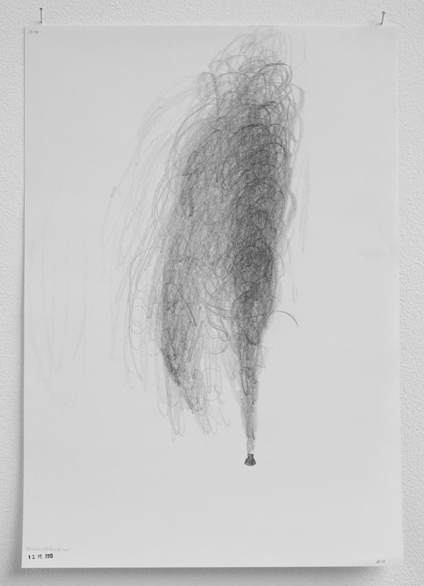 Fontäne Deutschmühlenweiher, Saarbrücken, 13.10.2013, 13 :50-14:00 Uhr, Graphit auf Papier, 42 x 29,7 cm