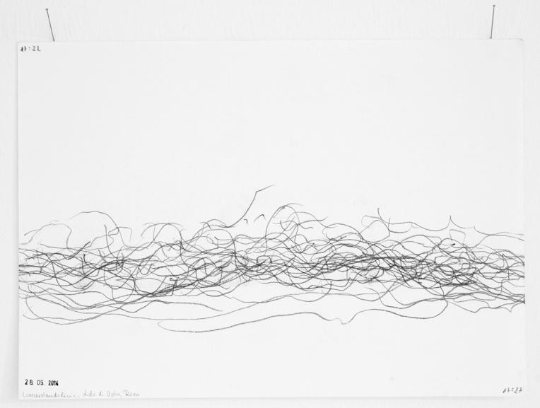 Wasserstandslinie Lido di Ostia, Rom, 28.09.2014, 17:22-17:27 Uhr Graphit auf wasserfestes Papier, 21 x 29,7 cm